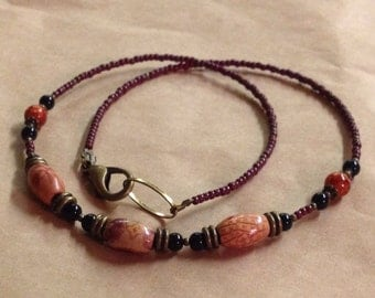 Handcrafted Earthy Autumn Necklace - Wood Beads - Glass - Brass - Free U S A Shipping