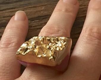 Dara Ettinger JILL Druzy Ring in Pink/Gold sz 6