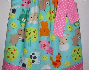 Pillowcase Dress Farm Animals Aqua Pink Pig Cow Lamb Chicken Chicks Birthday Party Kids Clothes baby toddler girl