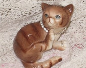 Vintage Ceramic Brown Cat Kitten Rhinestones ECS