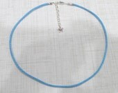 """22"""" to 24"""" Denim Blue Satin Cord Necklace With Silver Plated Clasp -  Adjustable Length"""