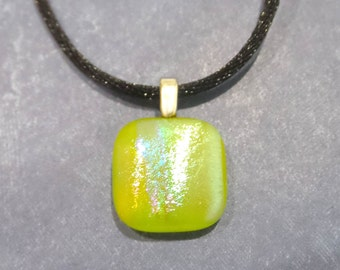 Small Lime Green Pendant, Sparkly Dichroic Necklace, Neon- Rollie - -5