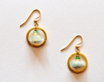 Green and Gold Hoop Earrings / 14k Gold Filled Geometric Earrings with Raw Aqua Marine and Jade Gemstones and Vermeil Gold Hoops