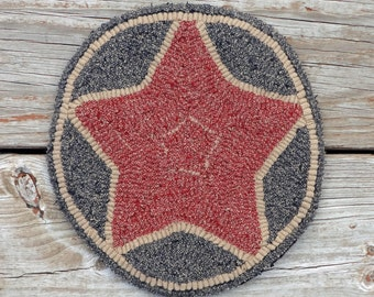 Primitive Rug Hooked Folk Art Star Mat - Wool Rug Hooking (Free Shipping)