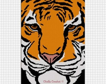 INSTANT DOWNLOAD  Chella Crochet Syberian Bengal Tiger Face Afghan Crochet Pattern Graph Chart .PDF