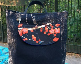 Hand Treated Black Canvas Backpack with Floral Asian Print, Red Plum Blossom Knapsack