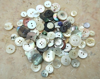 100 Vintage shell buttons, MOP buttons.mother of pearl assorted sizes and colors
