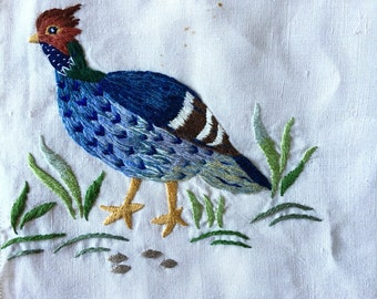 Vintage bird quail pheasant partridge crewel orange and brown  CHOICE OF: sachet, napkin, or picture for framing   piece embroidered cottage