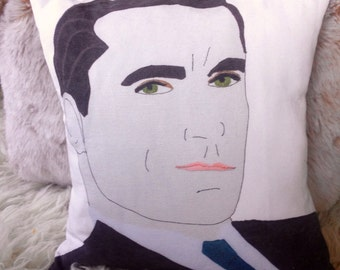 madmen pillow cover mid century modern portrait face don draper print on canvas 16x16""