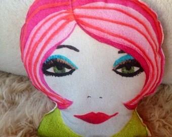 Mod face pillow modern short pink bob portrait