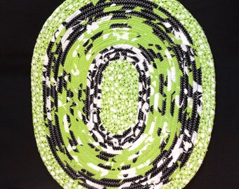 Large Oval Coiled Fabric Trivet, Candle Mat, Hot Pad, Kiwi Green, Black, And White