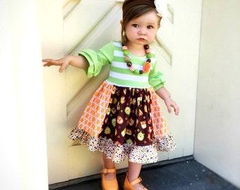 Owl Fall Halloween Thanksgiving dress girls custom boutique dress Momi boutique