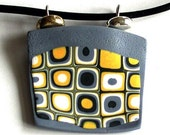 Yellow Grey Geometric Chunky Clay Pendant Necklace