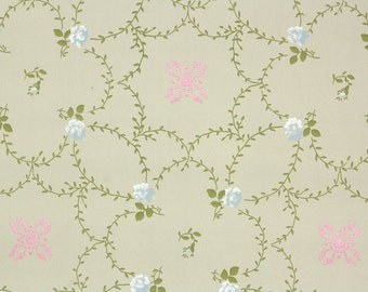 1900s Vintage Wallpaper by the Yard - Antique Floral Wallpaper Blue Roses Pink Geometric