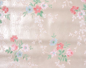 1940s Vintage Wallpaper - Pink Moire Floral with Pink Roses and Blue Flowers