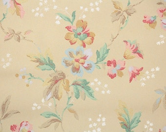 1930's Vintage Wallpaper - Antique Floral with Multi Colored Flowers of Pastel Pink Yellow Blue and Green