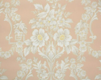 1930s Vintage Wallpaper by the Yard - White Floral Victorian Wallpaper