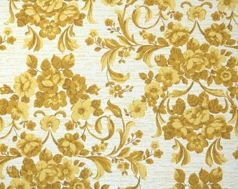 1960s Vintage Wallpaper by the Yard - Yellow Roses Damask Retro Floral