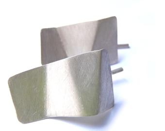 Medium origami earrings, minimal faceted