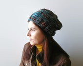 Beanie Hat Knitted in Marl Blue and Brown Soft Wool Blend