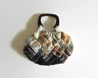 Brown Gray Wool Knitted Handbag, Medium Purse, One of a Kind, Gifts for Her, Tote Knitted Bag, Women, Boho Bag, Hand Knit, Handmade Purse