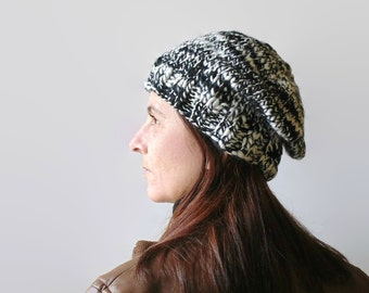 Black and White Wool Chunky Knit Beanie, Womens Hand Knit Hat, Cute Slouchy Hat, Tweed Black and White, Bobble Hat, Ready to Ship