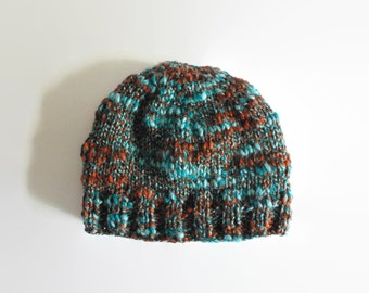 Brown Teal Marl Wool Knitted Beanie, Slouchy Chunky Knit Hat, Womens, Winter Hat, Hand Knit, Gifts for Her, Unisex, Womens Knit Hat