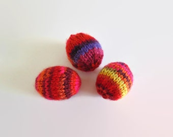Red Heirloom Wool Easter Eggs, Hand Knitted Kids Toys, Easter Decorations, Basket Stuffer, Easter Gift, Easter Decor, Easter Egg Hunt, OOAK
