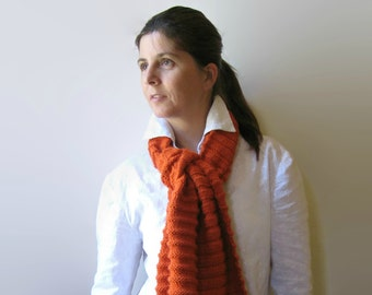 Orange Wool Hand Knit Scarf, Long Shawl Scarf, Warm Wrap Scarf, Winter Womens Scarves, Mens, Merino Wool, Neck Warmer, Hand Knitted Items