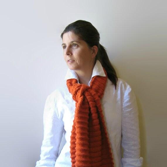 Orange Wool Hand Knit Scarf, Long Shawl Scarf, Warm Wrap Scarf, Winter Womens Scarves, Mens, Merino Wool, Neck Warmer, Hand Knitted Items