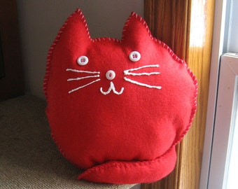 Red Cat Pillow with White Face