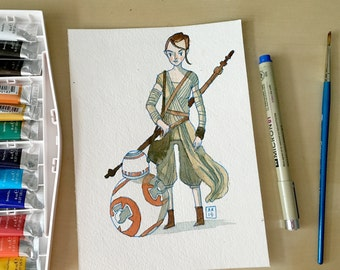 Rey & BB-8 Watercolor Original Painting - 5.5 x 7.5""