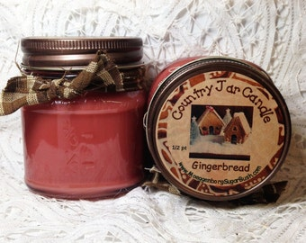Jar Candle, Gingerbread, Mason Jar Candle, scented candle, 1/2 pint container candle, bakery scent, Moeggenborg Sugar Bush