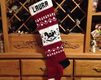 Christmas Stocking, Stockings, personalized, knitted, rocking horse, wedding, new baby, Moeggenborg Sugar Bush, lined, unlined