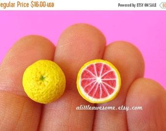 Christmas in July - Grapefruit Studs, Food Jewelry, Grapefruit Earrings, Miniature Food