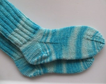 Hand Knitted Socks, Merino Wool Socks, Blue Socks