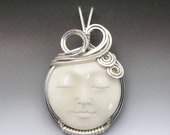 Kims Jewels Carved Bone (bovine) Full Moon Face Cameo Sterling Silver Wire Wrapped Pendant