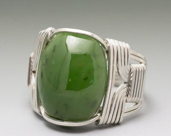 Nephrite Jade Sterling Silver Wire Wrapped Cabochon Ring - Made to Order and Ships Fast!