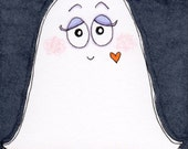 "ACEO Original Illustration - Artist Trading Card - Folk Art - Cute Whimsical - 2.5"" x 3.5"" - Too Sweet To Spook Ghost"