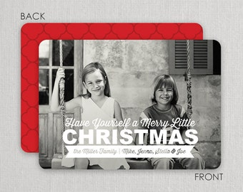 "Christmas Photo Card - ""Merry Little Christmas"" 2 sided printing!"