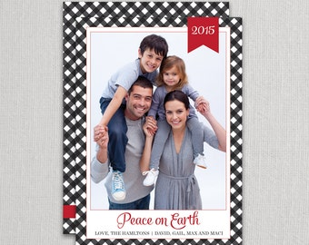 """Christmas Photo Card - """"Gingham Tradition"""" 2 sided printing!"""