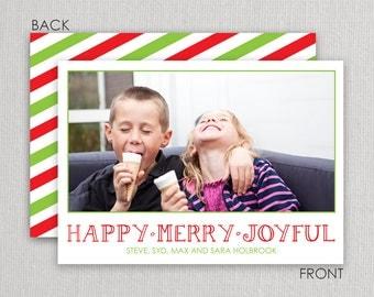 "Christmas Photo Card - ""Happy, Merry, Joyful"" 2 sided printing!"