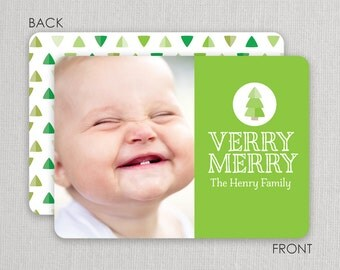 "Christmas Photo Card - ""Tiny Trees"" 2 sided printing!"