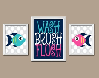 FISH BATHROOM   Fish Wall Art   Canvas Or Prints Child Bathroom   Boy Girl