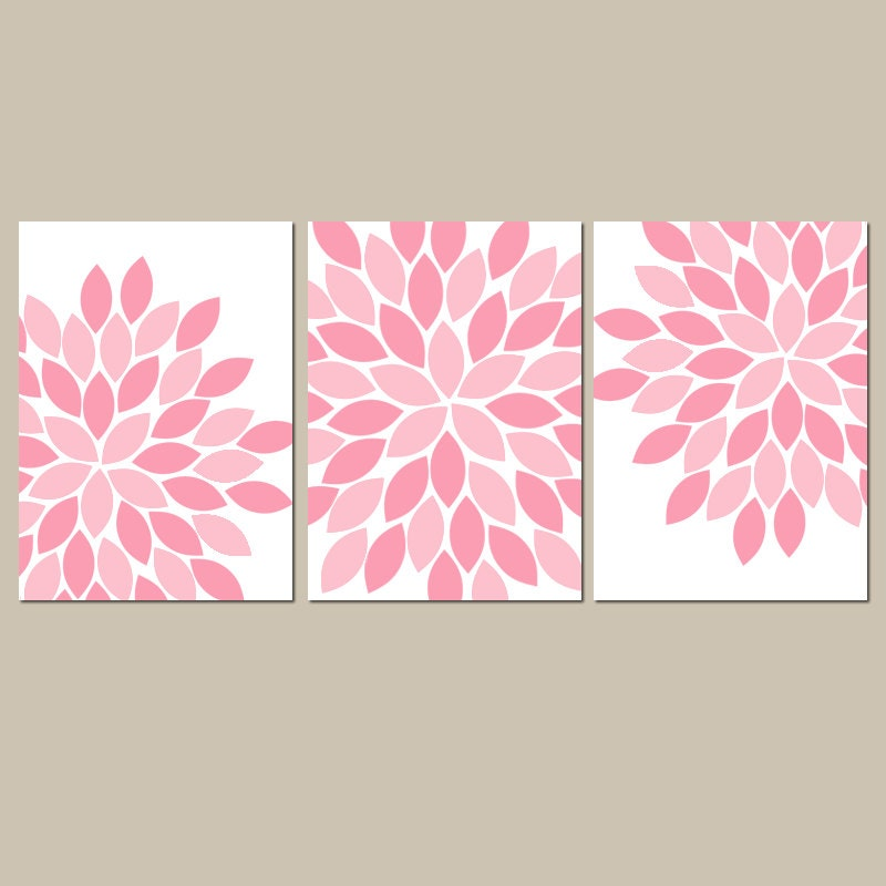 Pink baby girl nursery wall art pink flowers girl bedroom - Wall decor girl nursery ...