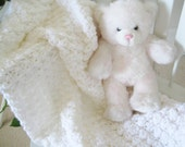 Large Baby Blanket Afghan, Utra Soft & Chunky Knit Crochet Crib Size, Dedication Christening, Ceremonial - Dreamy Cloud White  Ready To Ship