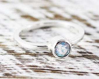 Moonstone Engagement Ring White Gold Womens Delicate Jewelry