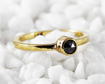 Diamond Engagement Ring Black Diamonds 14k Gold Rings