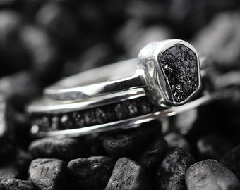 Wedding Ring Set Engagement Ring Black Diamond Ring Wedding Band Set Wedding Ring Diamond Ring Sterling Silver Ring Engagement Rings