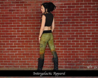 Bamboo Fleece Leggings with Sacred Geometry Size SMALL or MEDIUM by Intergalactic Apparel